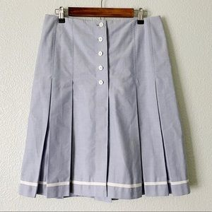 BROOKS BROTHERS || Pleated Chambray Skirt